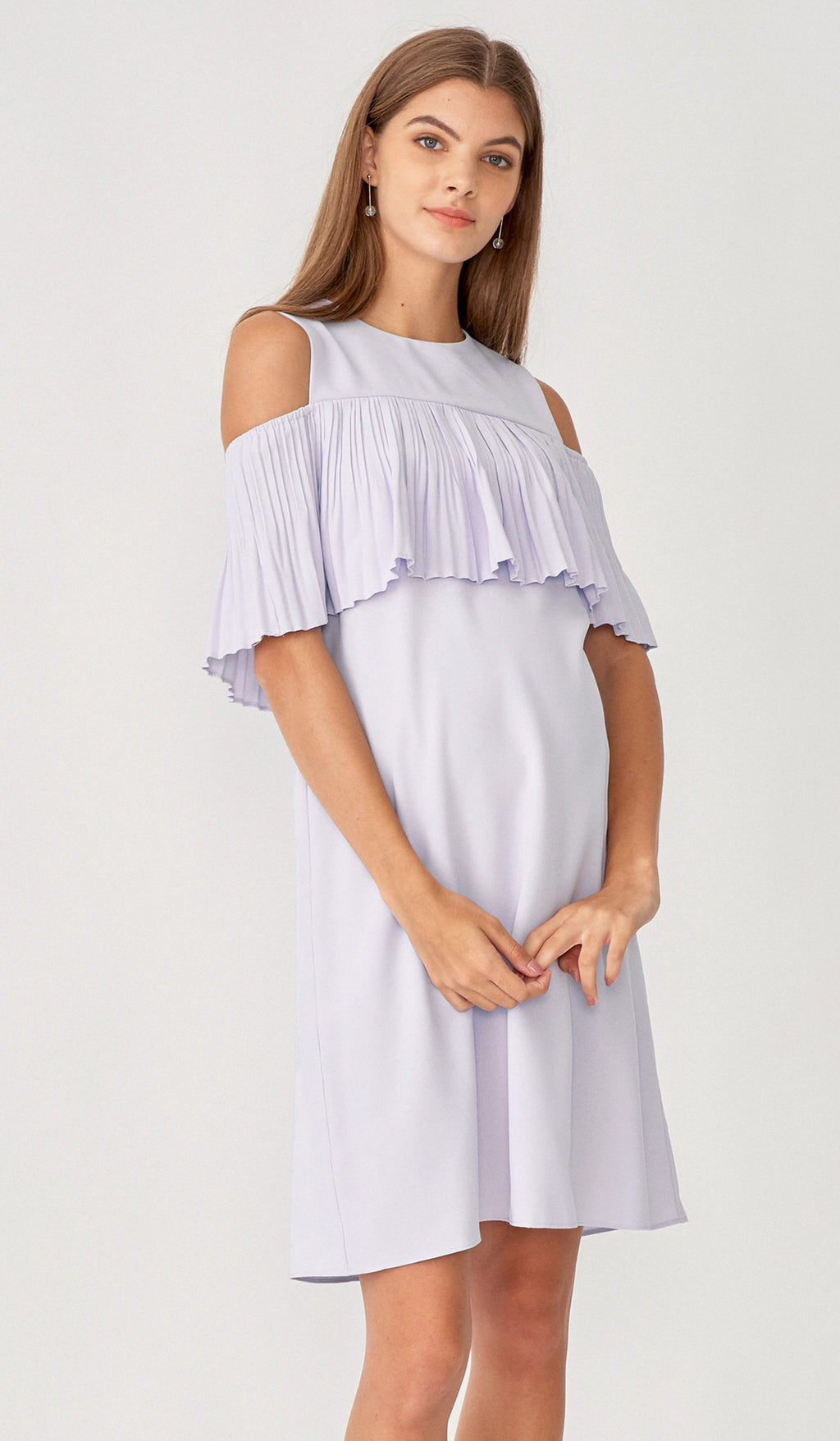 KAYLA DROP SHOULDER PLEAT DRESS LILAC