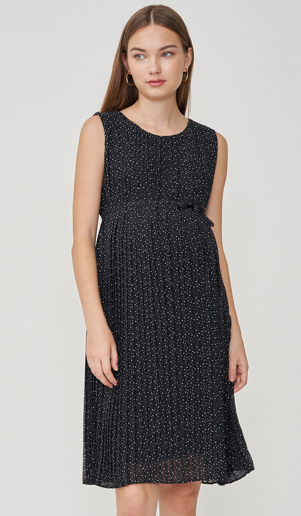 SALE - LAILA POLKADOT PLEATS NURSING DRESS BLACK