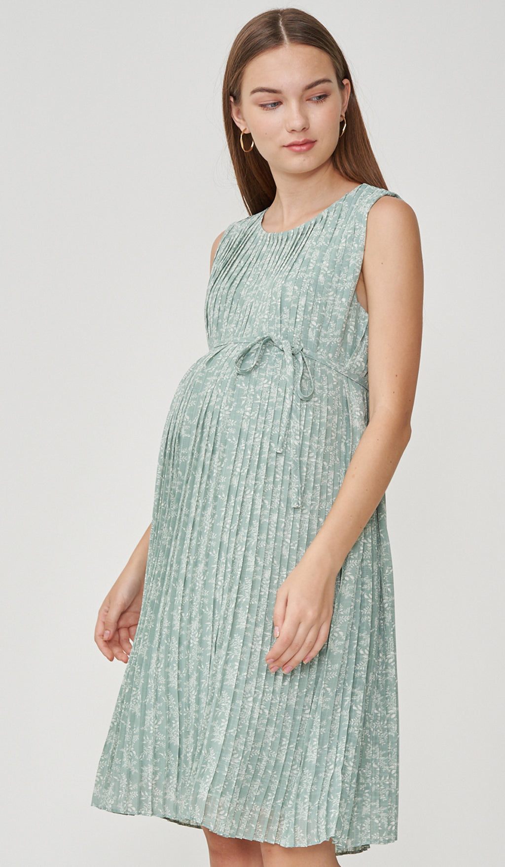 LAILA FLORAL PLEATS NURSING DRESS JADE