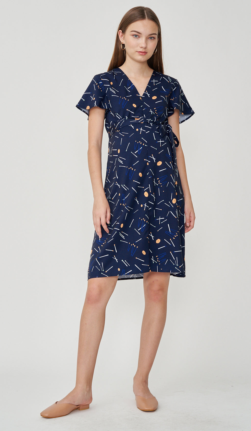 MATCHSTICKS FRONT ZIP NURSING DRESS