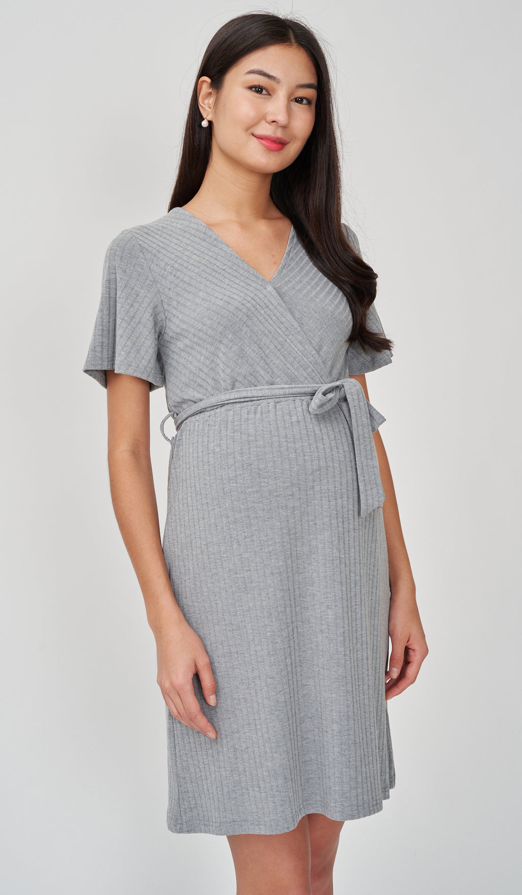 NYLA FAUX WRAP RIBBED NURSING DRESS GREY