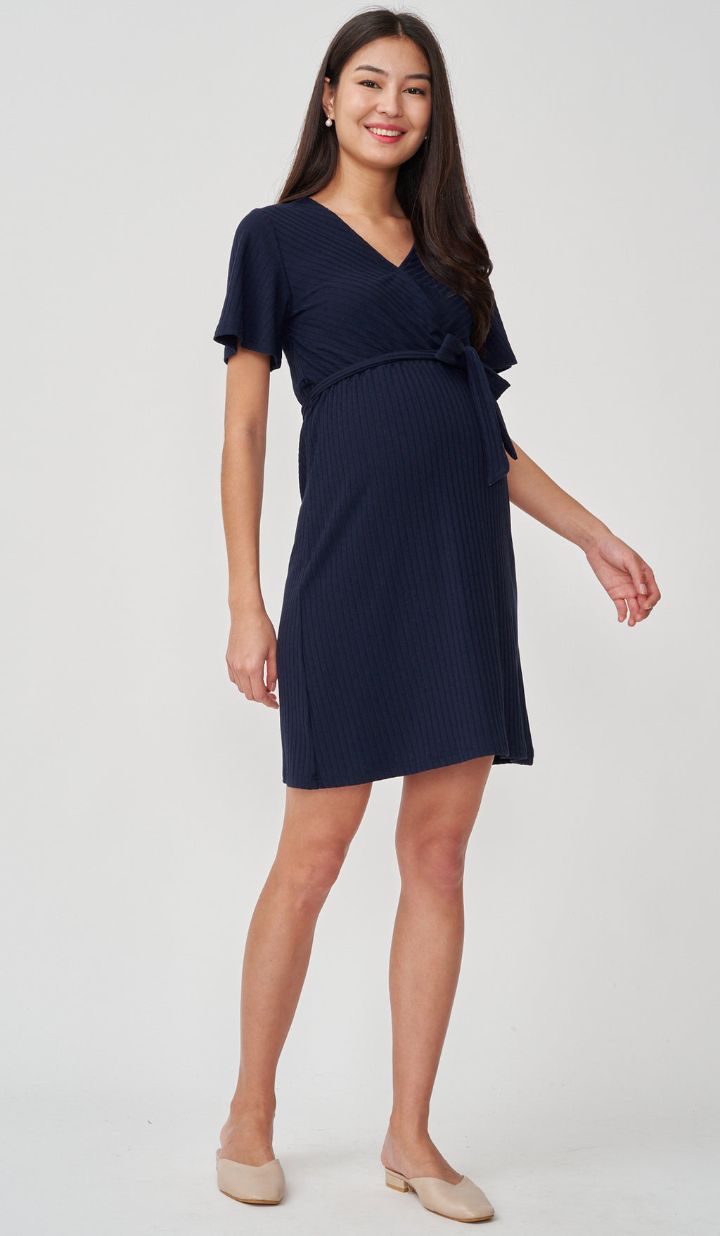 NYLA FAUX WRAP RIBBED NURSING DRESS NAVY