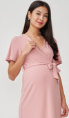NYLA FAUX WRAP RIBBED NURSING DRESS PINK