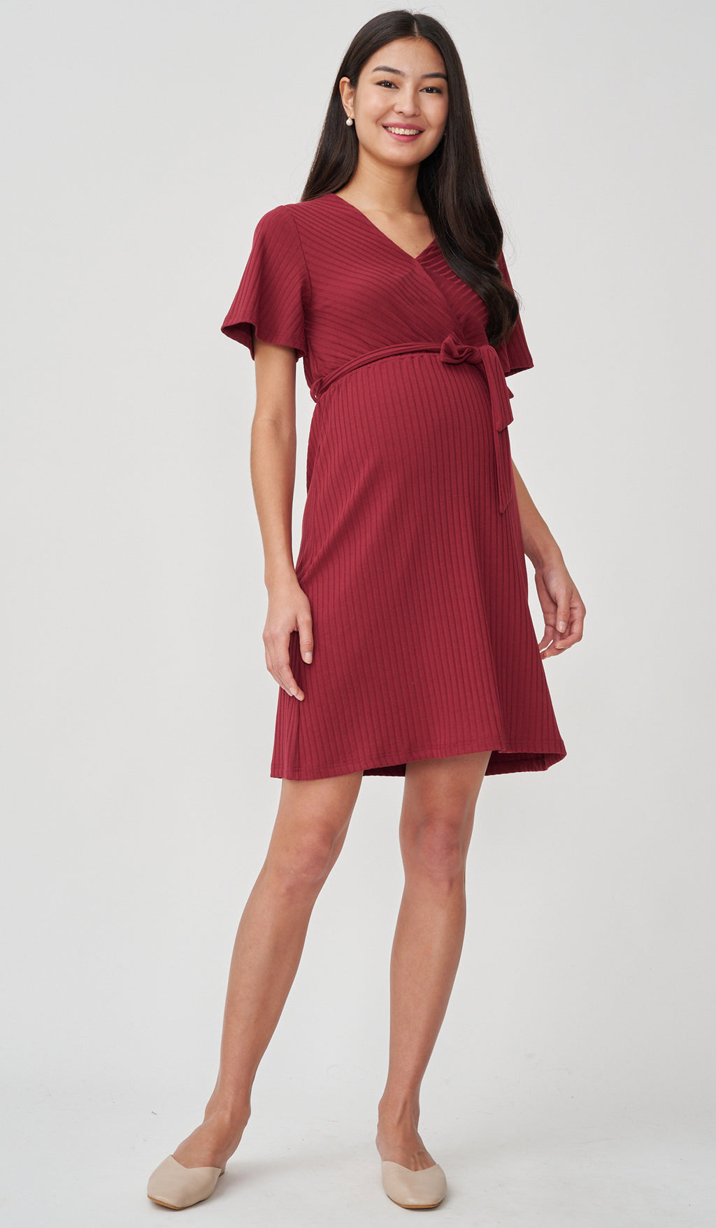 NYLA FAUX WRAP RIBBED NURSING DRESS RED