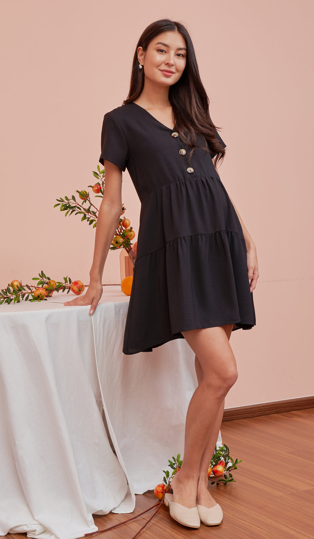 PENNY BUTTONDOWN DRESS BLACK