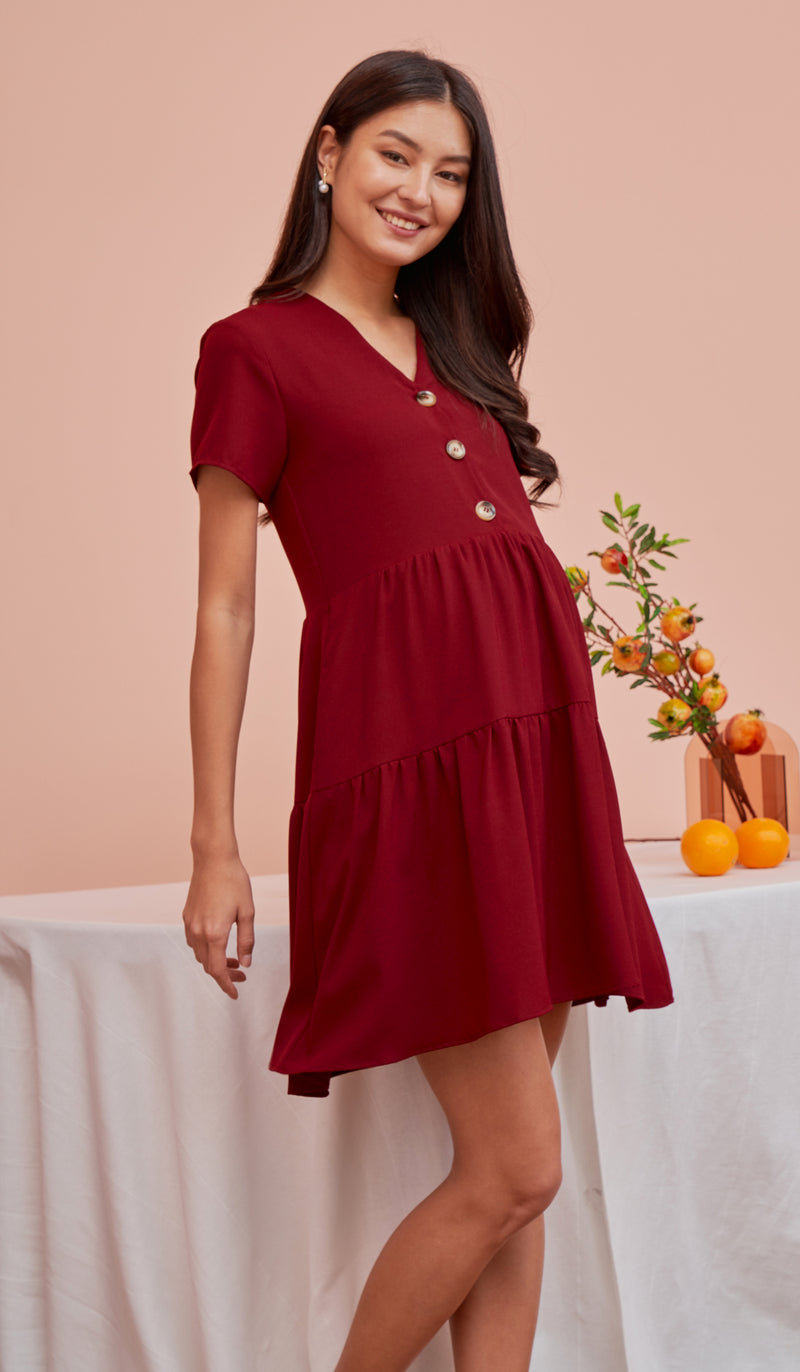 PENNY BUTTONDOWN DRESS RED