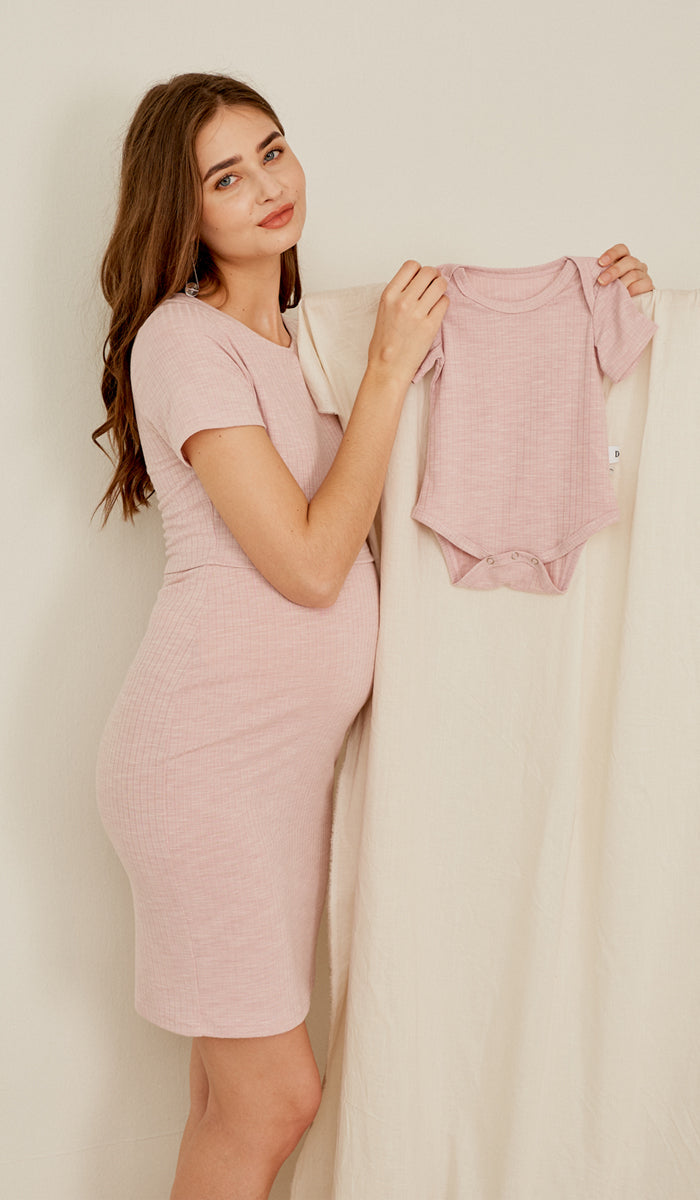 QUINN BODYCON RIBBED NURSING DRESS PINK