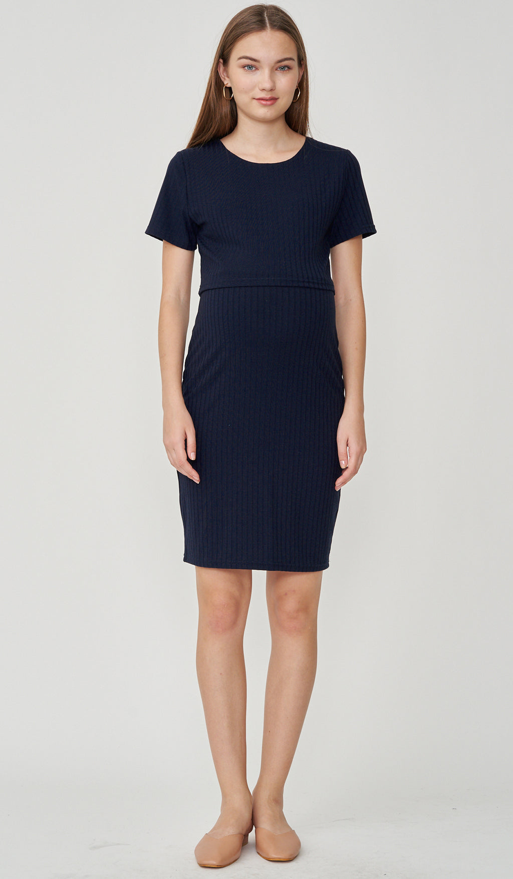 REI BODYCON NURSING DRESS NAVY