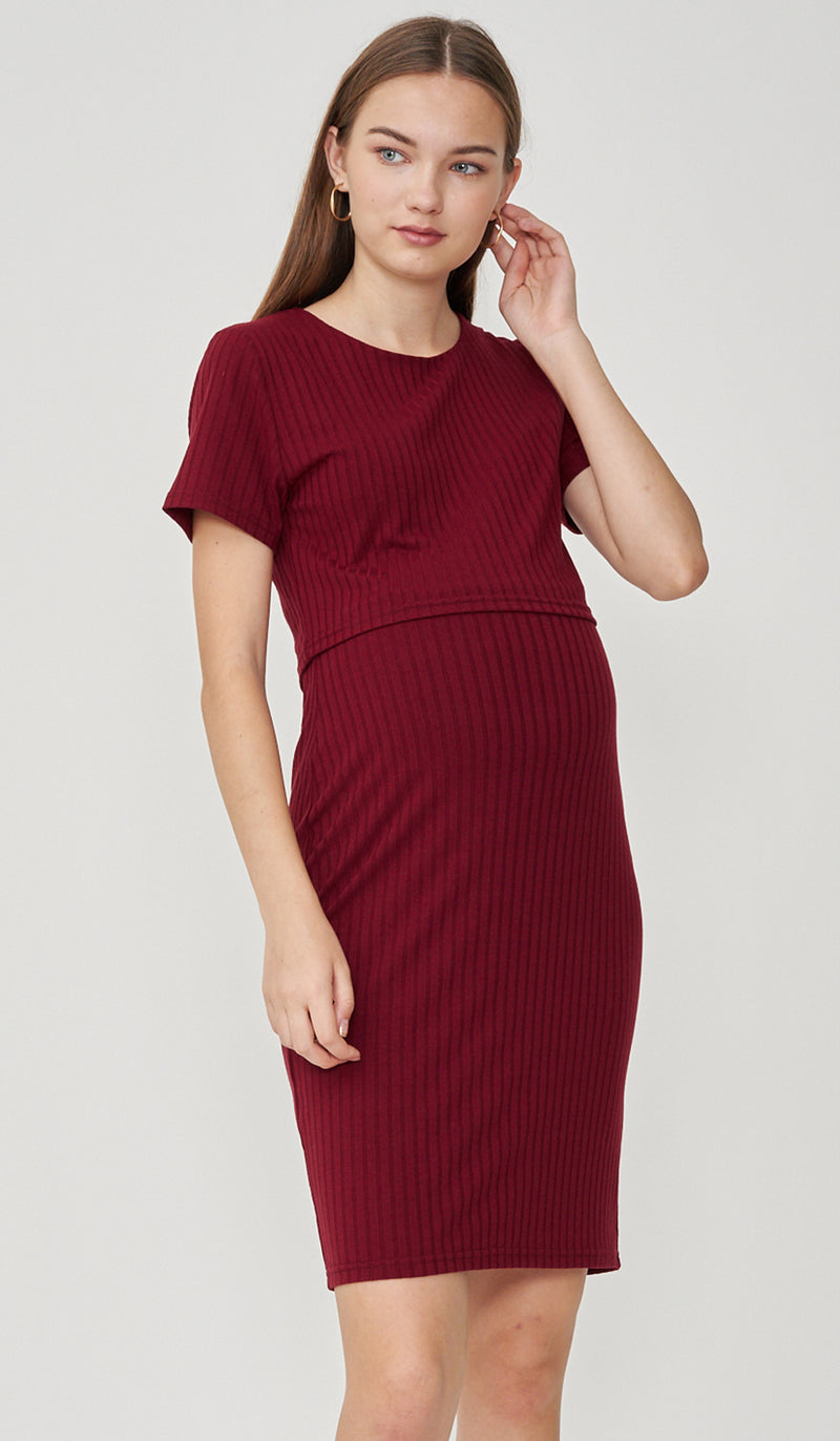 REI BODYCON NURSING DRESS RED