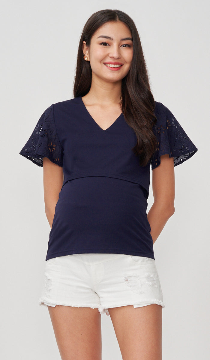 ROBYN EYELET SLEEVE NURSING TOP NAVY
