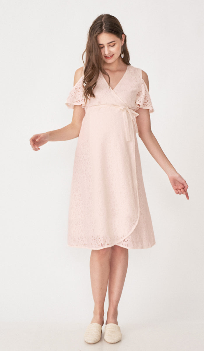 ZARA DROP SLEEVE LACE DRESS PINK