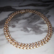 12mm Diamond Prong Cuban Chain Gold