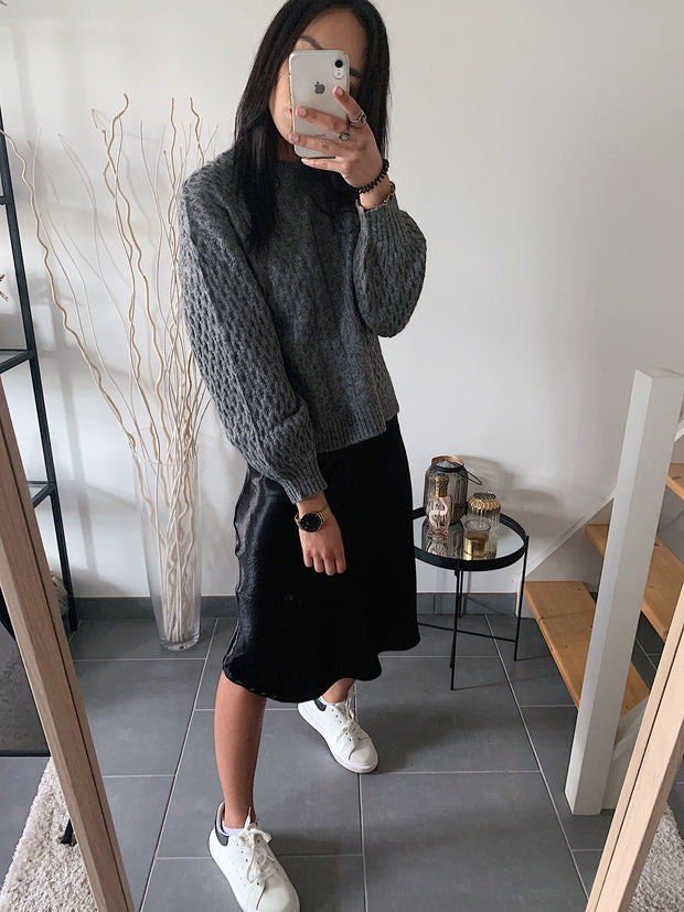 pull mohair gris