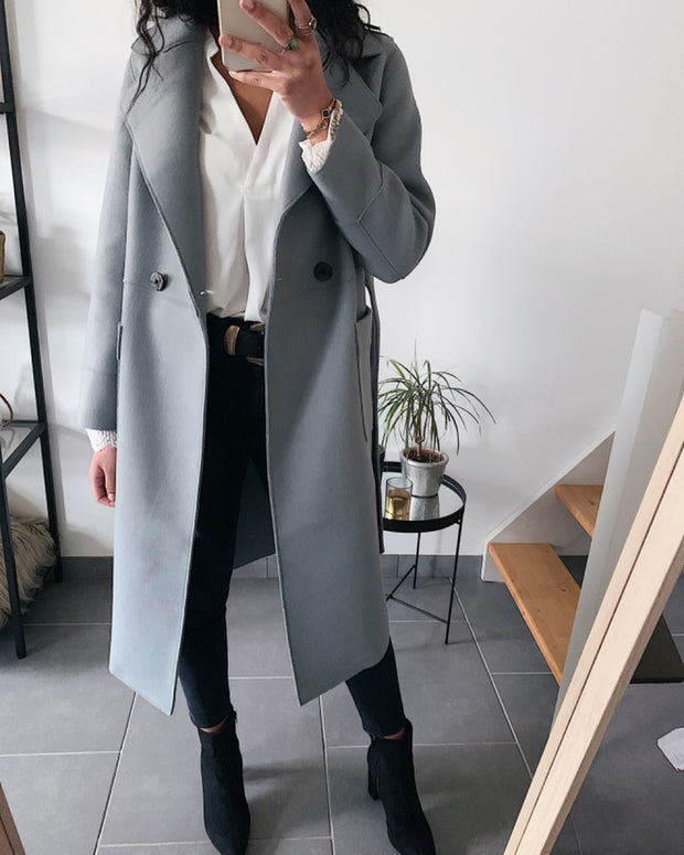 Manteau long gris bleu