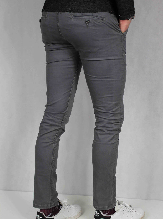 Pantalon chino homme gris coupe skinny 4