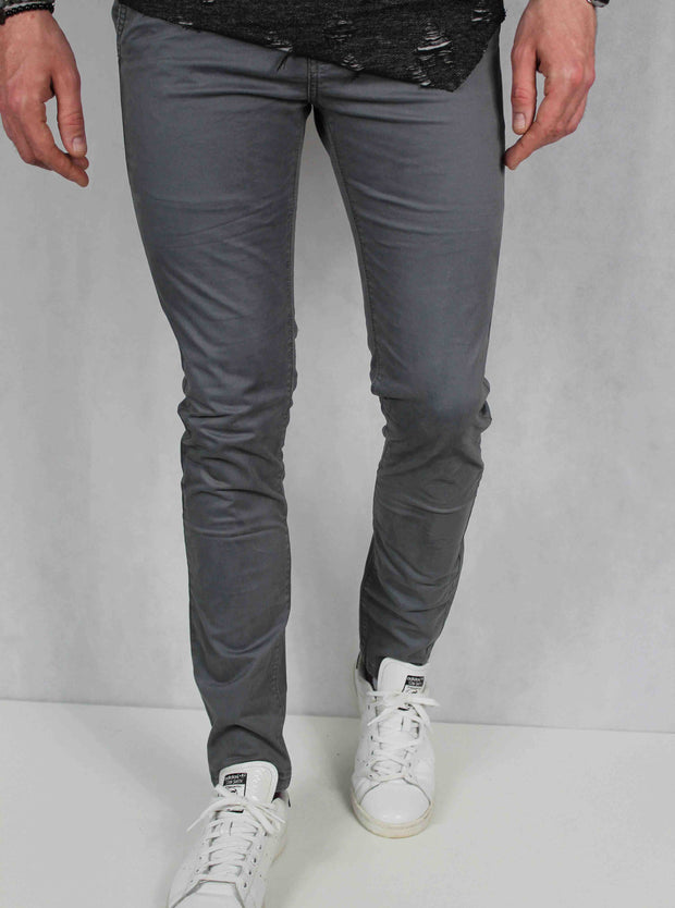 Pantalon chino homme gris coupe skinny 2