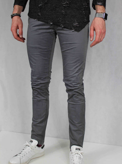 Pantalon chino homme gris coupe skinny