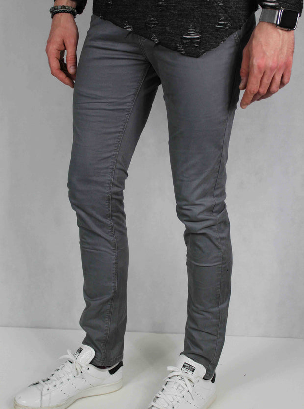 Pantalon chino homme gris coupe skinny 3