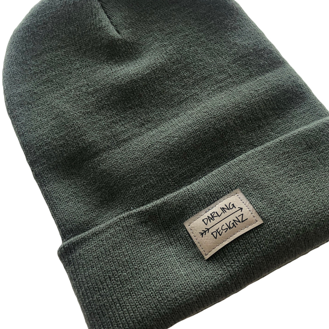 Darling Designz logo toque in olive