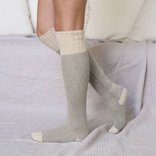 Ladies Two-Tone Lounge Socks in Oatmeal