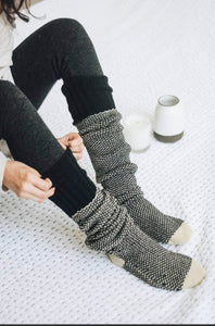 Ladies Two-Tone Lounge Socks in Black