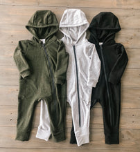 Light Grey Hooded Bamboo Zip Romper