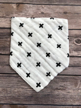 Monochrome bandana bib in criss cross