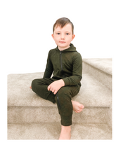Forest Green Hooded Bamboo Zip Romper