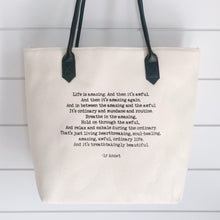 Life quote tote bag