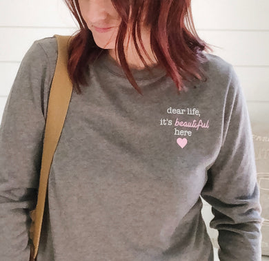 Ladies vintage long sleeve dear life tee