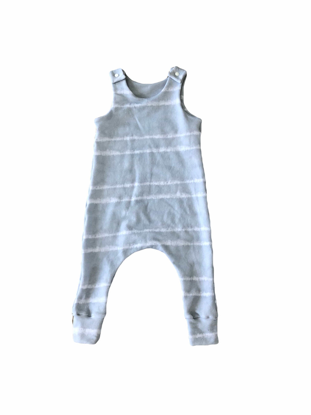 Light Grey Stripe Tie Dye Harem Romper