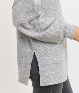 Ladies Grey Brushed Waffle Tunic