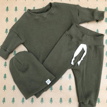 Kids Thermal Waffle Crew in Olive