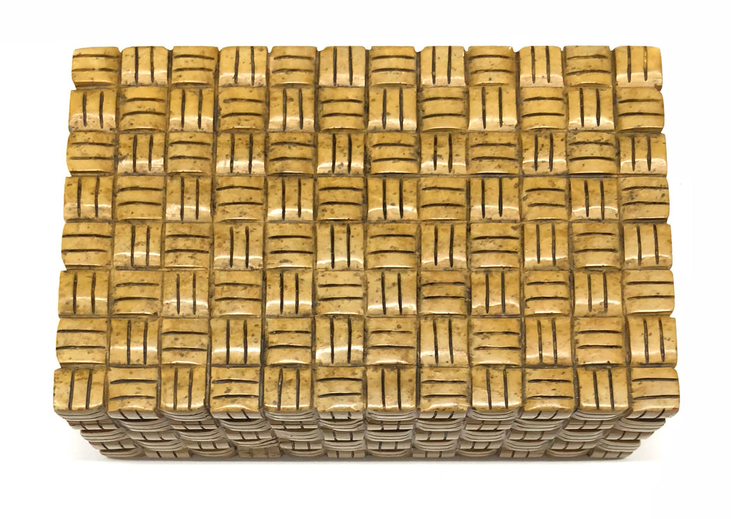 Basket Weave - Niger Bend Soapstone Trinket Decor Box