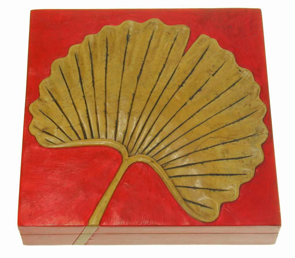 Ginkgo Leaf Soapstone Trinket Decor Box - Niger Bend