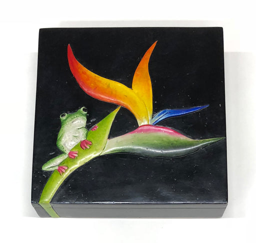 Bird of Paradise Flower with Frog - Decorative Soapstone Trinket Decor Box - Niger Bend
