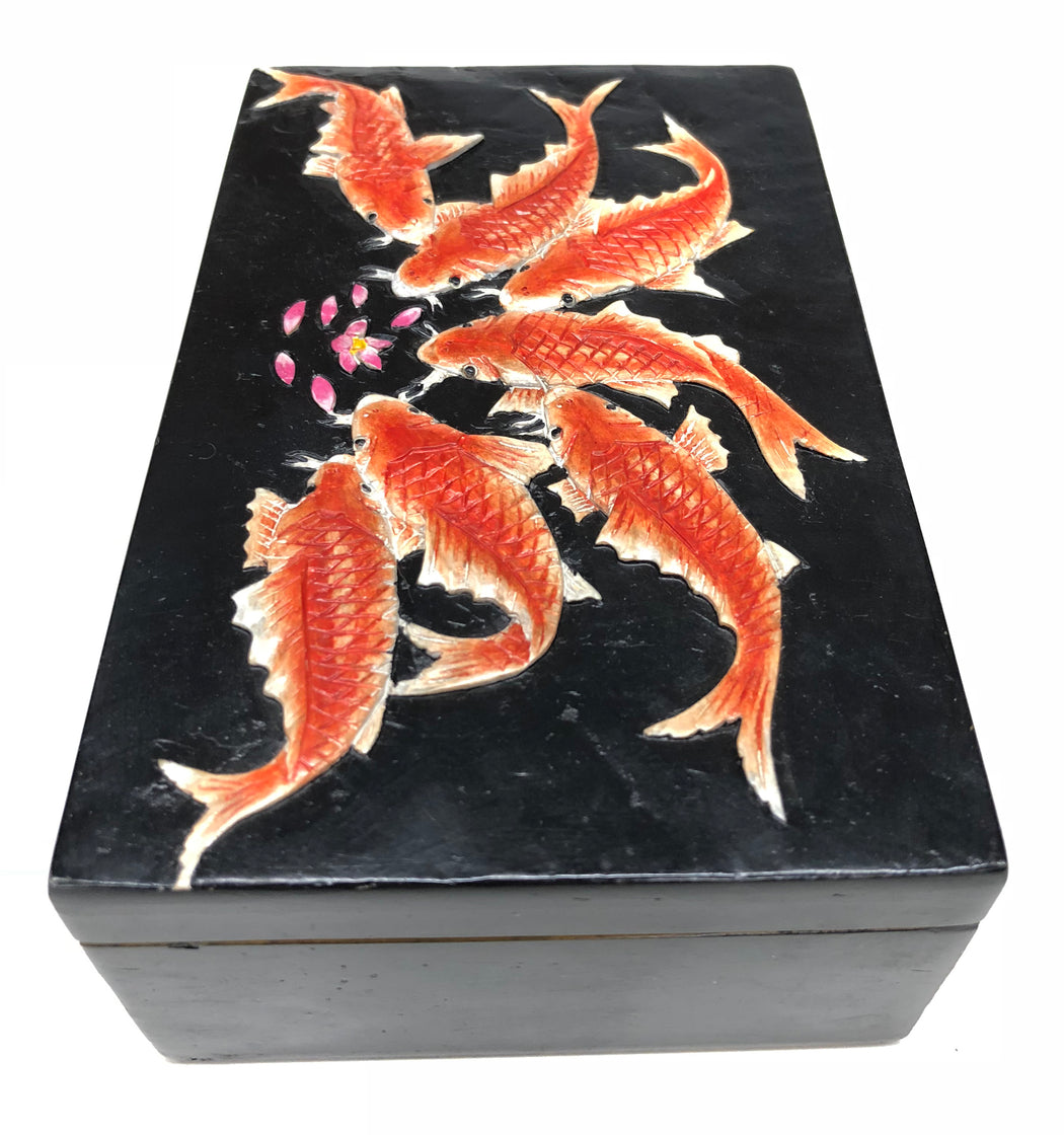 Koi Fish Feeding Soapstone Trinket Decor Box - Niger Bend