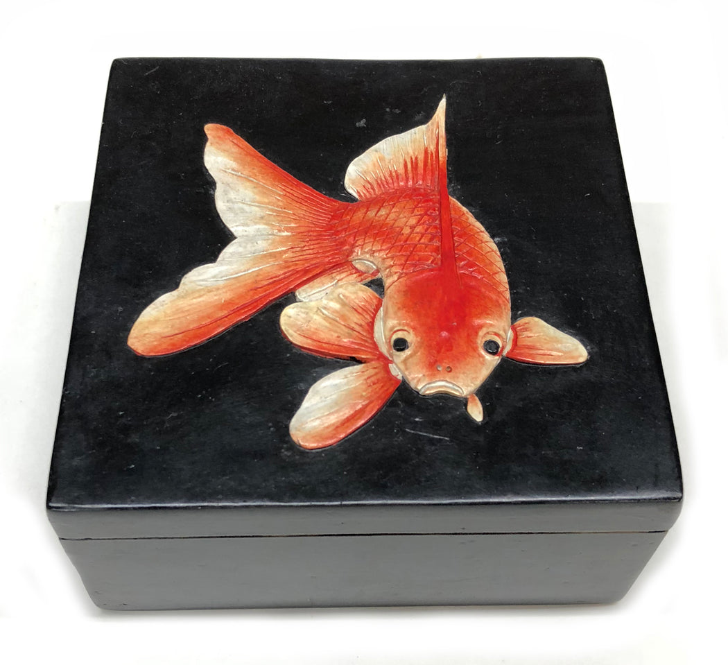 Goldfish - Black - Soapstone Trinket Decor Box - Niger Bend