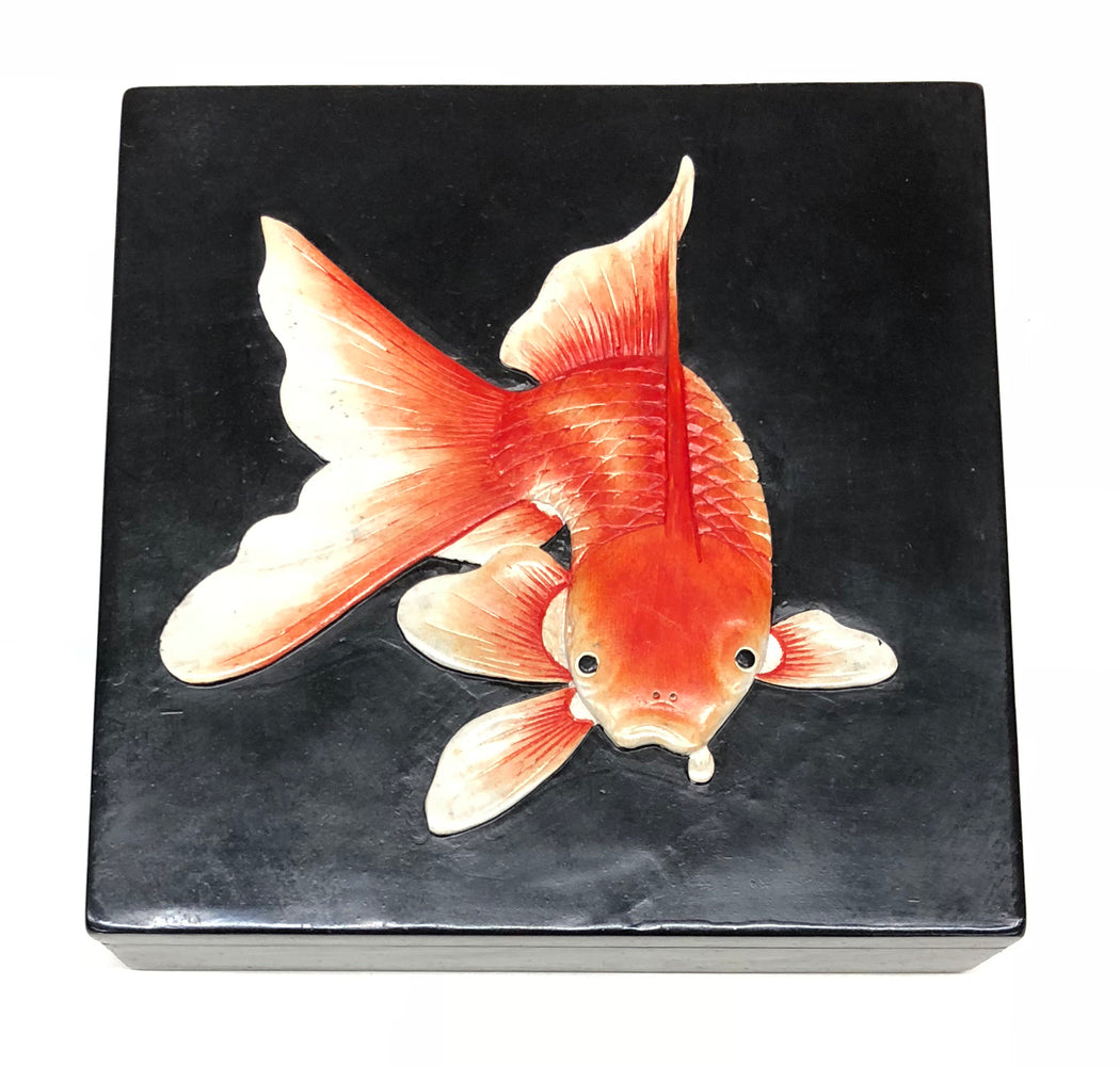 Goldfish - Black - Soapstone Trinket Decor Box