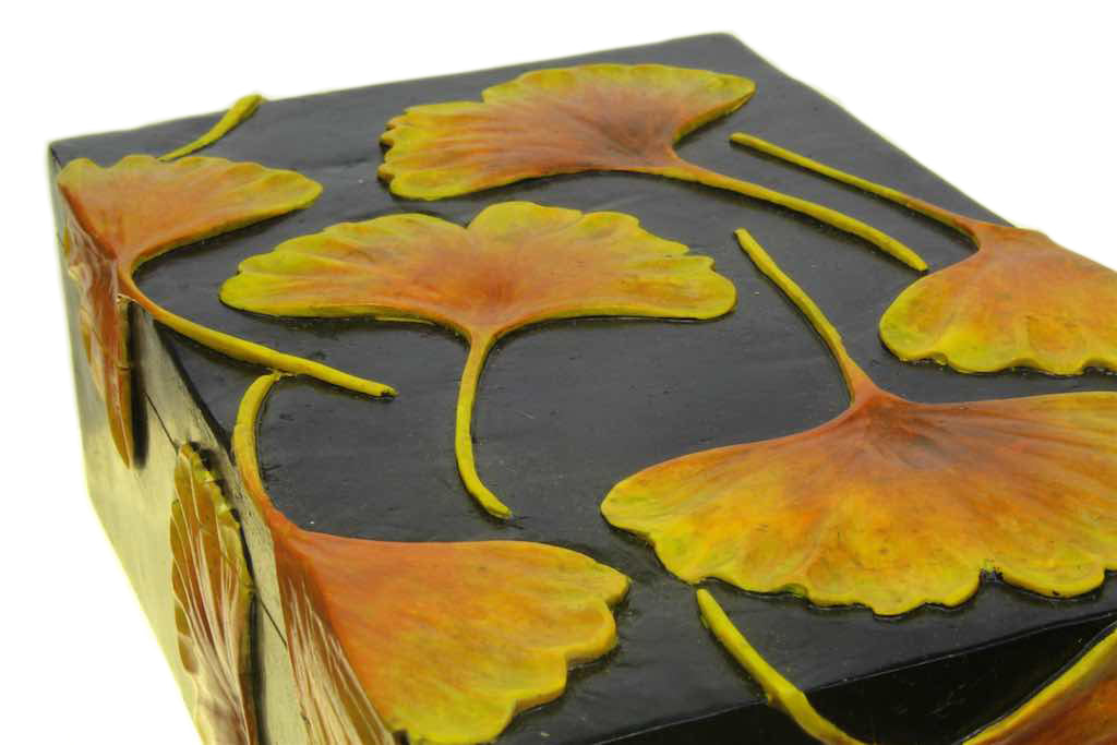 Ginkgo Leaves – Soapstone Trinket Decor Box - Niger Bend
