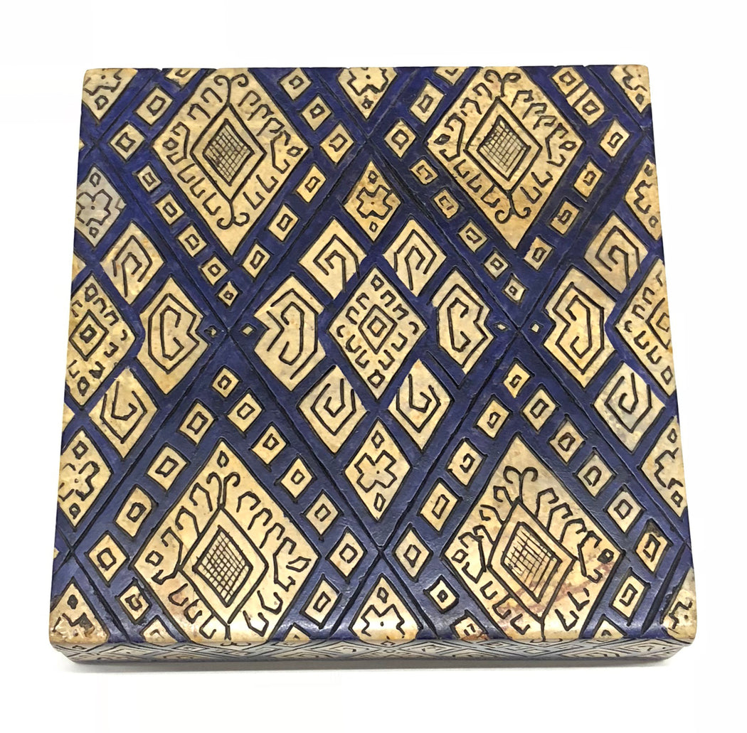 Textile Design - Soapstone Trinket Decor Box - Niger Bend