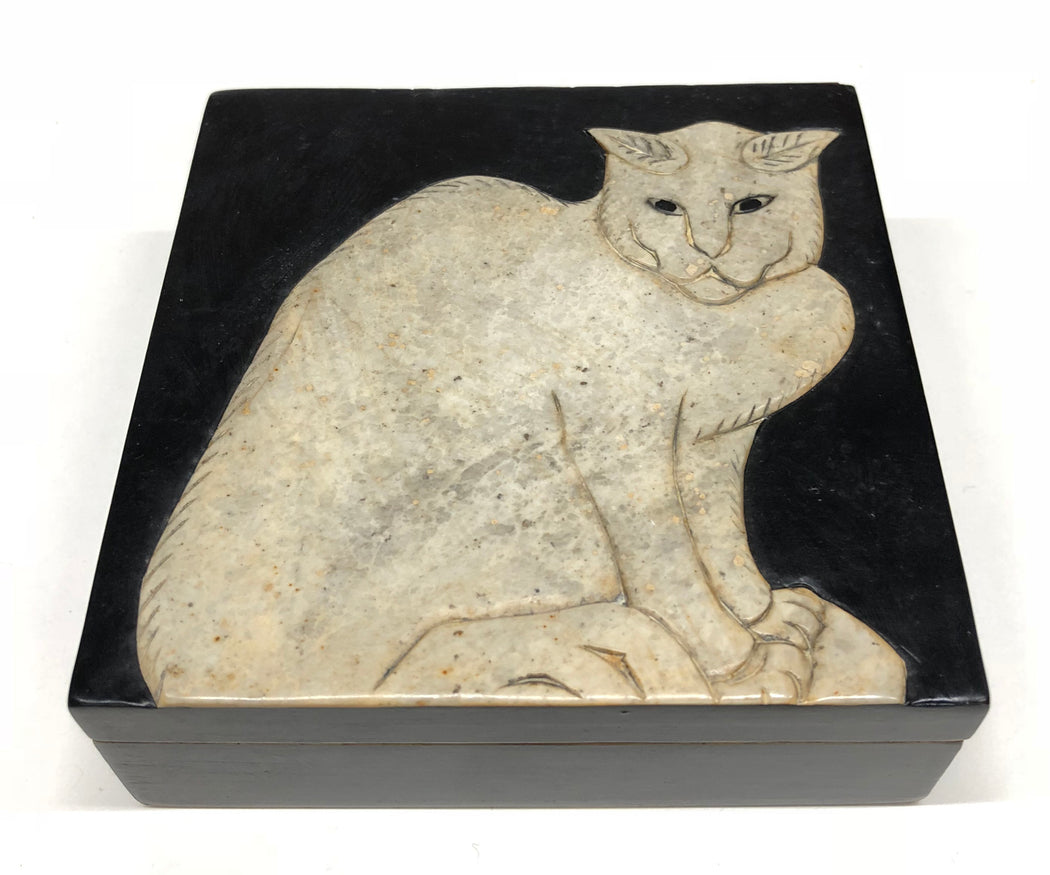 Cat Soapstone Trinket Decor Box - Niger Bend