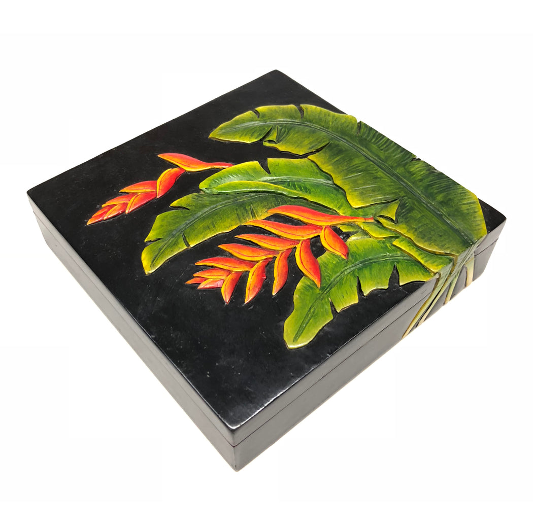 Heliconia Plant & Flower - Soapstone Trinket Decor Box - Niger Bend