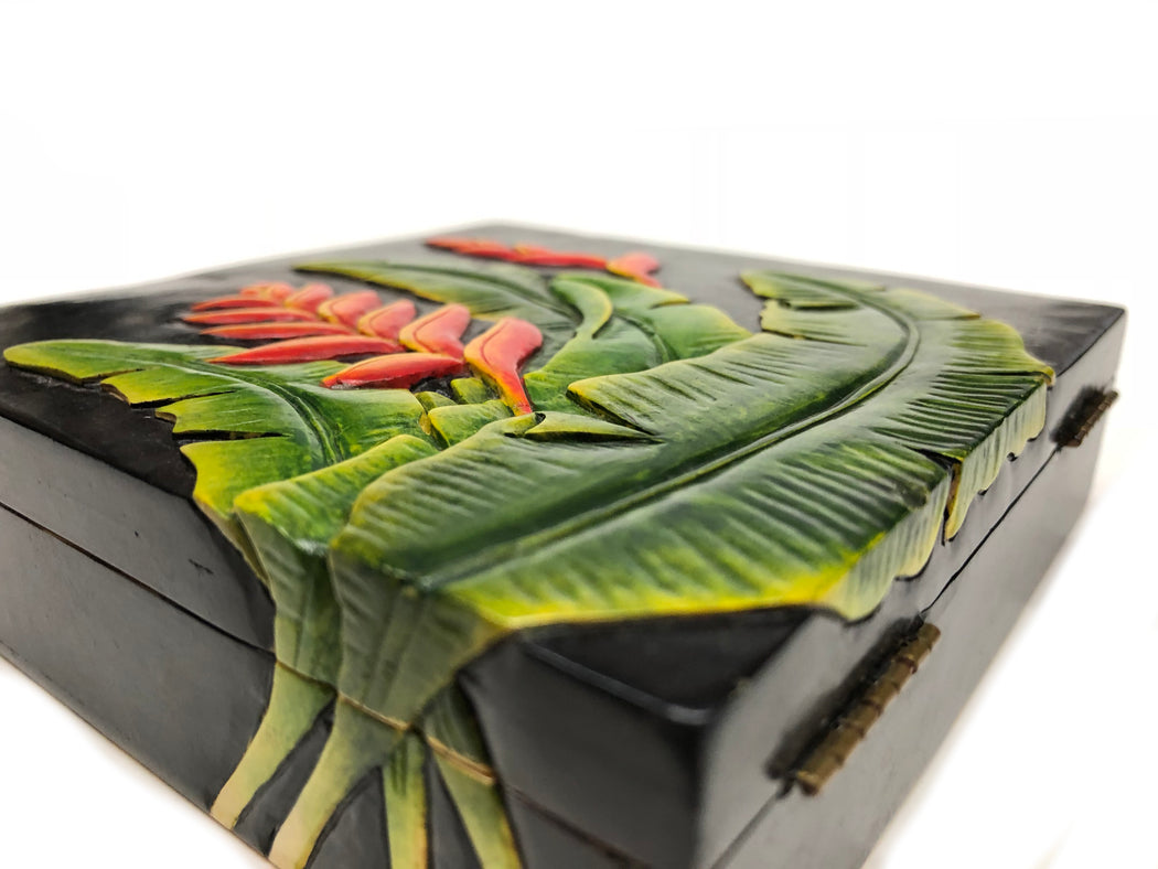 Heliconia Plant & Flower - Soapstone Trinket Decor Box
