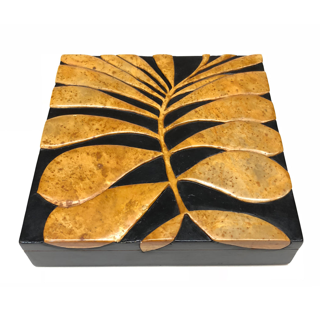 Leaves Soapstone Trinket Decor Box - Niger Bend