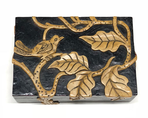 Bird in Tree - Niger Bend Soapstone Trinket Decor Box - Niger Bend