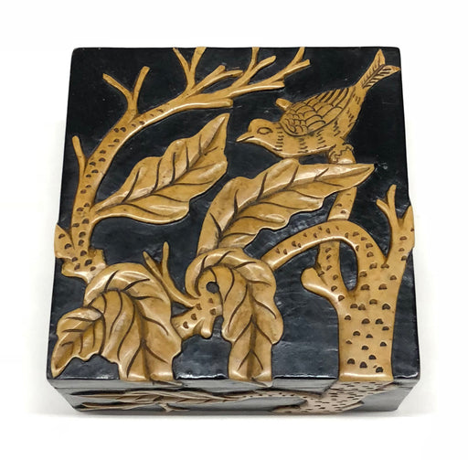 Bird in Trees - Soapstone Trinket Decor Box - Niger Bend