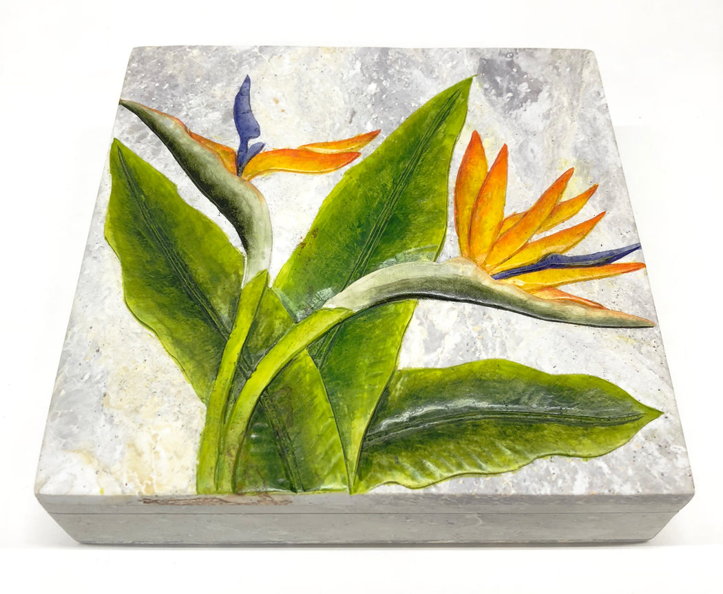 Bird of Paradise Flower - Soapstone Trinket Decor Box - Niger Bend