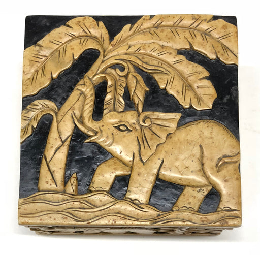 Elephants Soapstone Trinket Decor Box
