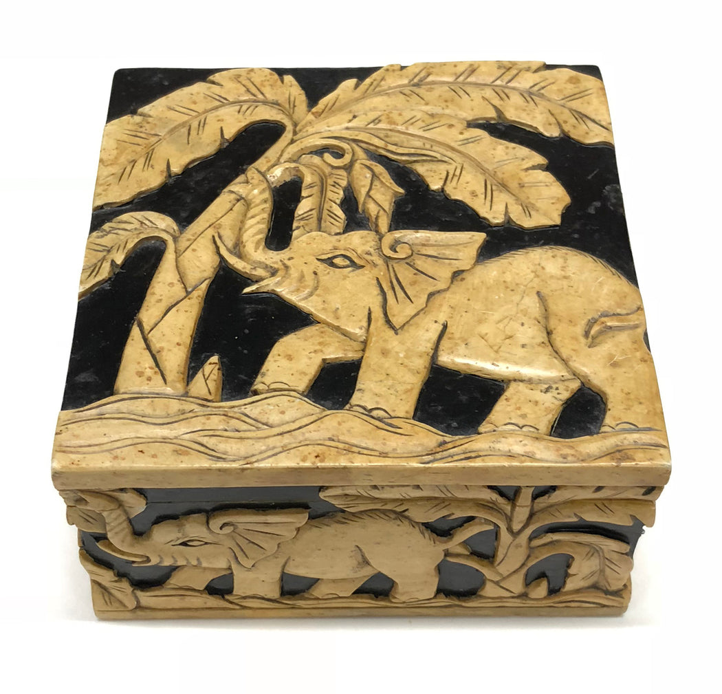 Elephants Soapstone Trinket Decor Box - Niger Bend
